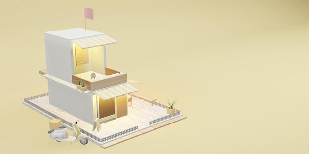 Model kawiarni model restauracji i usługi dostawy obrazy z kreskówek ilustracje 3d