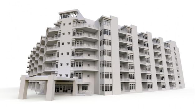 Model kondominium w białym kolorze z przezroczystymi szkłami. dom z apartamentami z dziedzińcem. renderowania 3d.