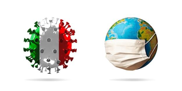 Model koronawirusa covid-19 zabarwiony flagą włoch w pobliżu planety ziemia w masce na twarz, koncepcja rozprzestrzeniania się pandemii, medycyna i opieka zdrowotna. epidemia, kwarantanna i izolacja, ochrona.