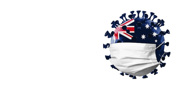 Model koronawirusa covid19 pokolorowany w narodową flagę australii w masce na twarz