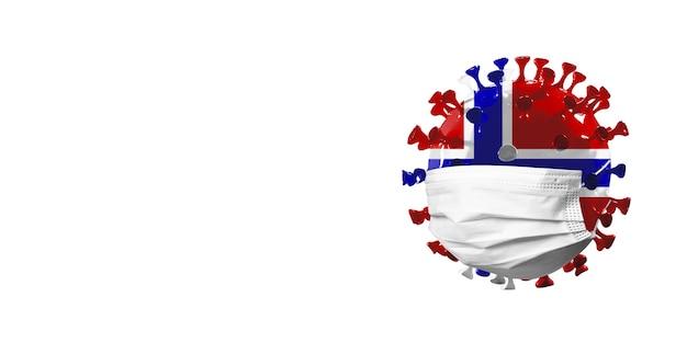 Model koronawirusa covid19 pokolorowany w narodową flagę norwegii w koncepcji maski na twarz