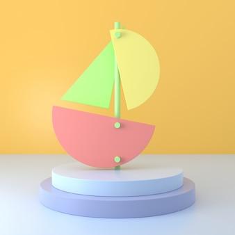 Model łodzi żaglowej. renderowanie 3d.
