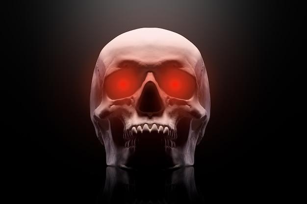 Model ludzkiej czaszki z czerwonymi oczami na białym tle