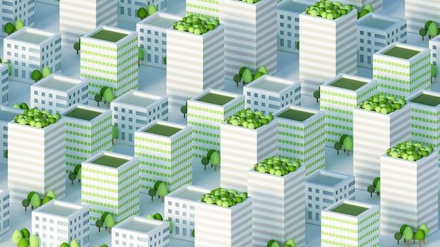 Model miasta z budynkami mieszkalnymi renderowania 3d ilustracji