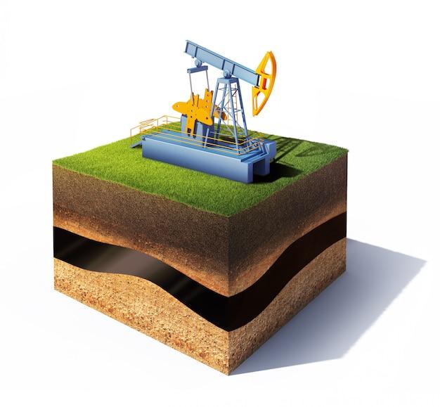 Model przekroju ziemi z podnośnikiem pompy trawy i oleju na białym tle