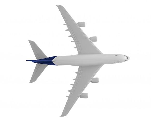Model samolotu z niebieskim kolorem na ogonie na białym tle