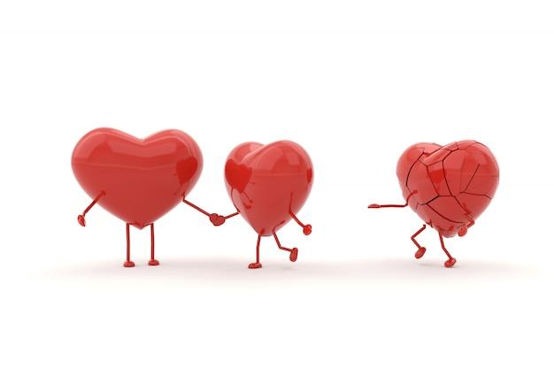 Model serca ze złamanymi pojęciami. renderowanie 3d.