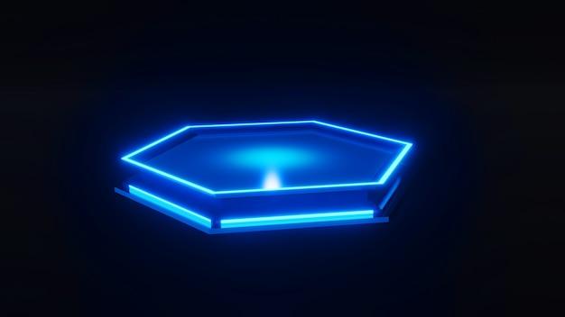 Model sześciokąta blask w stylu sci-fi renderowania 3d.