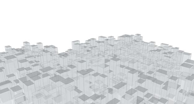 Model szkieletowy, panorama, streszczenie architektury, ilustracja 3d