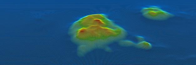 Model szkieletowy siatki topograficznej w 3d. gradientowa wyspa koloru.