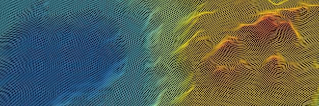 Model szkieletowy siatki topograficznej w 3d. gradientowa wyspa.