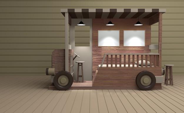 Model truck salon wykonany z drewna. 3d renering