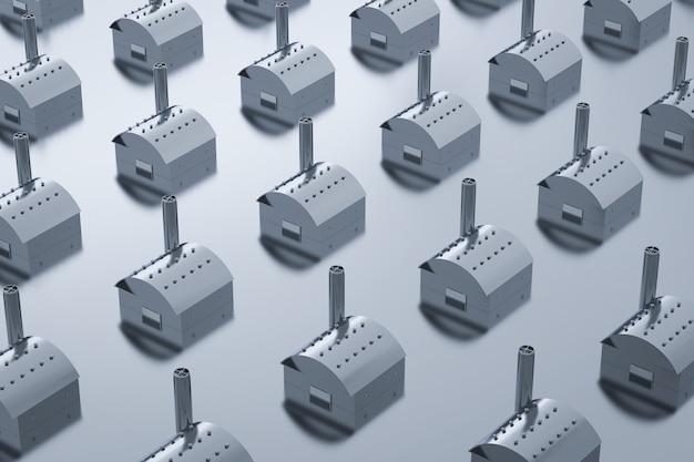 Model zewnętrzny fabryki renderowania 3d z kominem