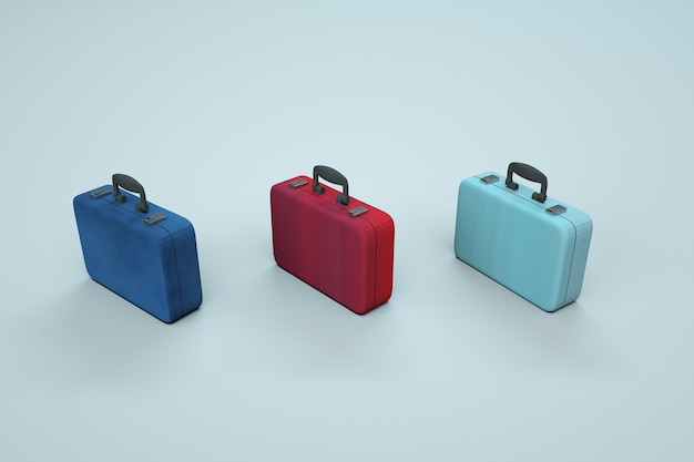 Modele 3d kolorowych walizek na białym tle. małe, wielokolorowe walizki podróżne. torby, walizki podróżne. grafika komputerowa