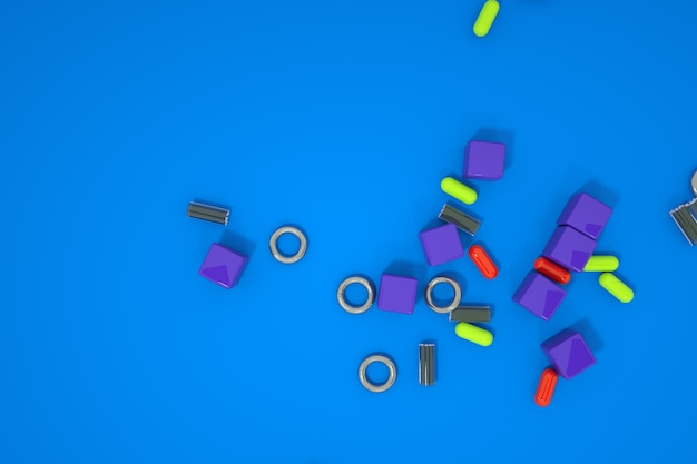 Modele 3d małych rozproszonych rzeczy. pigułki, małe części. grafika komputerowa, losowo rozrzucone szczegóły na kolorowym tle