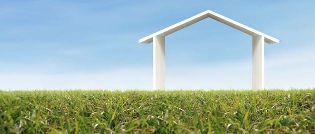 Modelowy dom na łące z trawą wieczorem