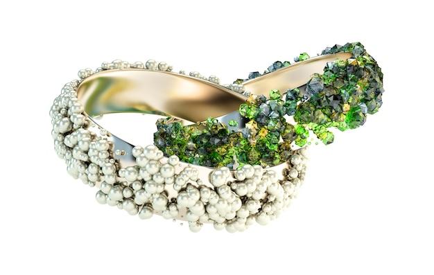 Modna bransoletka, ozdobiona perłami i zielonymi kryształkami renderowania 3d ilustracji