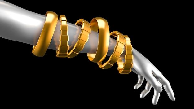 Modna bransoletka, ozdobiona szlachetnym kamieniem. ilustracja, renderowanie 3d.