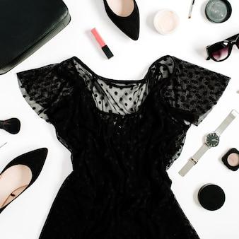 Modna moda czarna stylizowana kobieta ubrania i akcesoria kolekcja na białym tle.