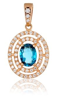 Modna złota biżuteria z kamieniami szlachetnymi. złota zawieszka z topazem i brylantami.