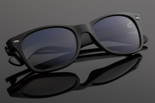 Modne ciemne okulary przeciwsłoneczne.