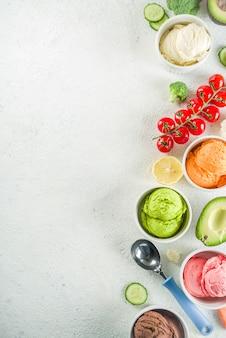 Modne kolorowe lody warzywne