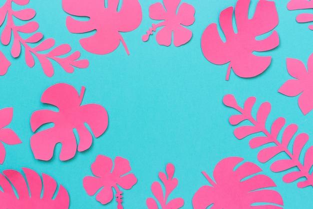 Modne różowe liście tropikalne papieru