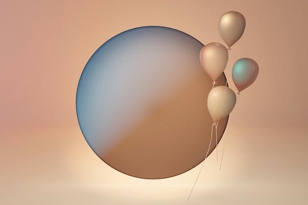 Modne stylowe szablony z abstrakcyjnymi kształtami i balonami w cielistych pastelowych kolorach. okrągła przestrzeń na tekst i logo