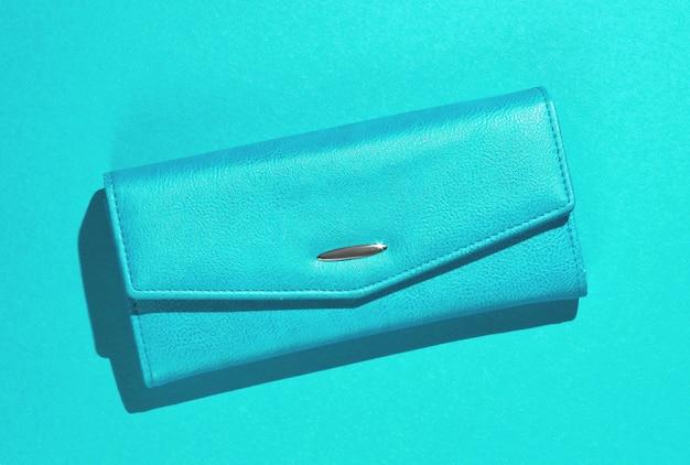 Modny portfel skórzany na niebiesko