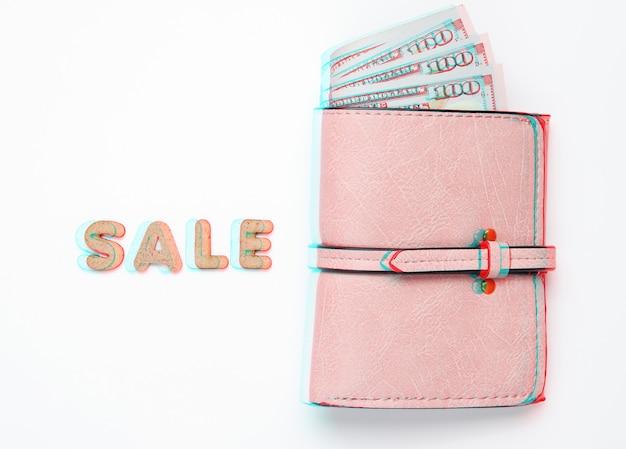 Modny skórzany portfel z banknotami dolarowymi na białym tle ze sprzedażą słów