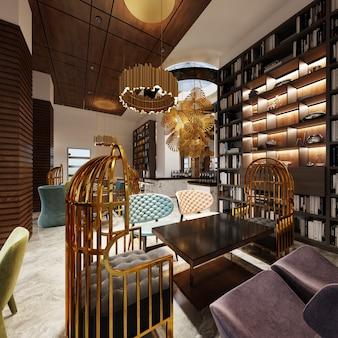 Modny w nowoczesnym stylu bar-biblioteka w stylu art deco z eleganckimi meblami i regałami na książki. renderowania 3d.