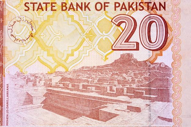 Mohenjodaro w dzielnicy larkana z pakistańskich pieniędzy
