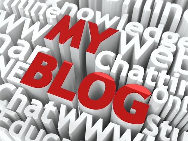 Mój blog słowa w kolorze czerwonym, umieszczone na tle innych słów w kolorze białym.