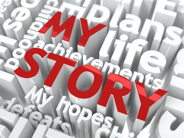 Moja historia. tekst koloru czerwonego, umieszczony na tle innych słów w kolorze białym.