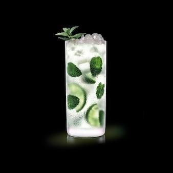 Mojito - popularny drink na czarnej powierzchni