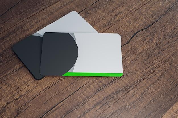 Mokup wizytówki na drewnianym blacie biurka, renderowanie ilustracji 3d