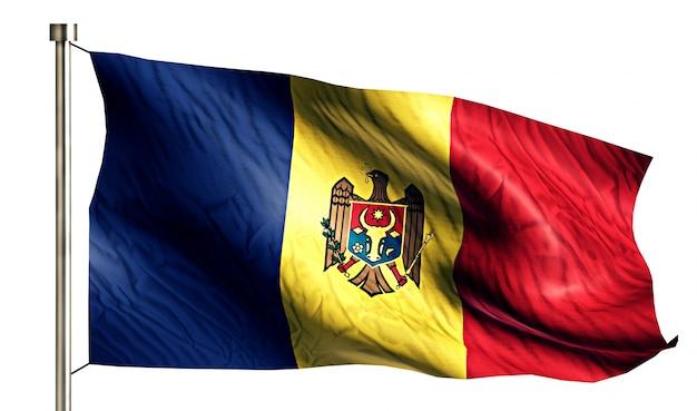Mołdawia flaga narodowa pojedyncze 3d białe tło