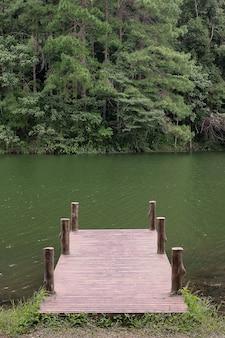 Molo na tle jeziora i lasu