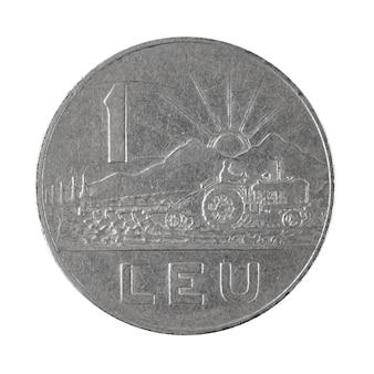 Moneta 1 leja 1966 rumuńskie pieniądze na białym tle zdjęcie