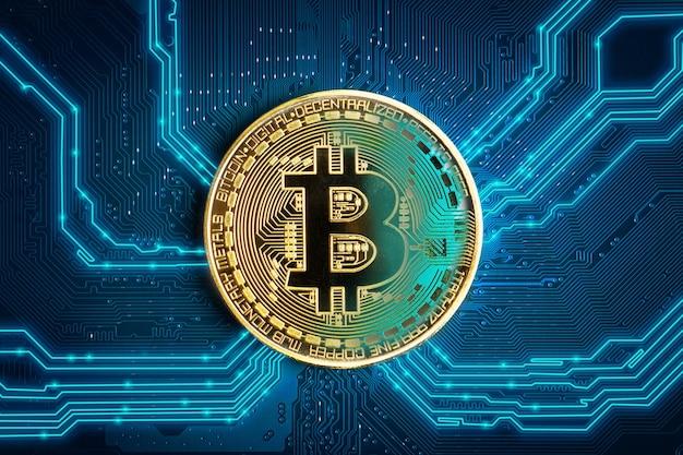 Moneta bitcoin. bitcoin-kryptowaluta na abstrakcyjnym tle elektronicznej płyty głównej.