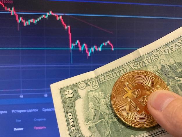 Moneta bitcoin na papierowym rachunku dwa dolary, usd - niewyraźne tło. elektroniczny harmonogram bitcoinów, transakcje wolumenowe