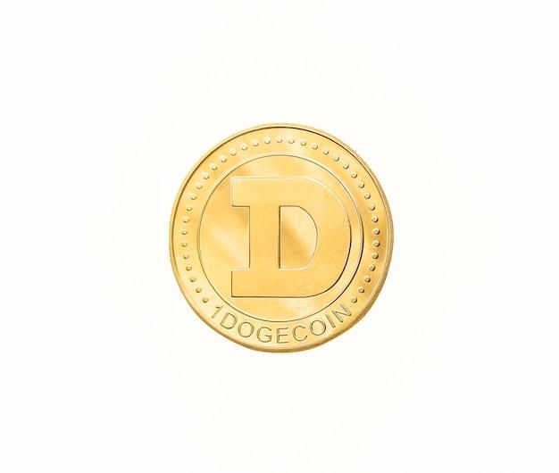 Moneta doge na białym tle. symbol kryptowaluty