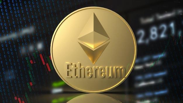 Moneta ethereum do renderowania 3d koncepcji kryptowaluty.