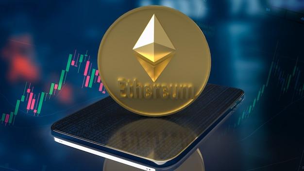 Moneta ethereum na tablecie do renderowania 3d koncepcji kryptowaluty.
