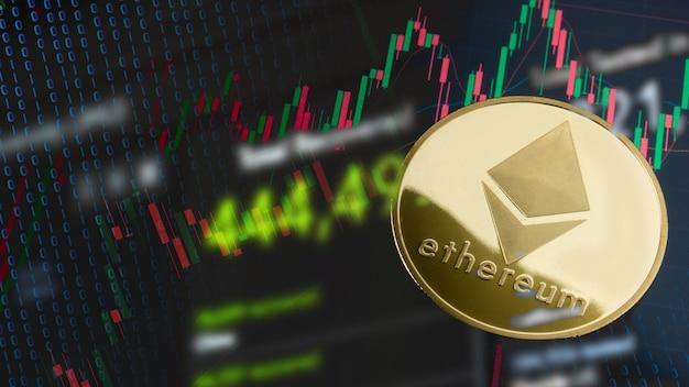 Moneta ethereum na wykresie biznesowym dla kryptografii lub koncepcji biznesowej