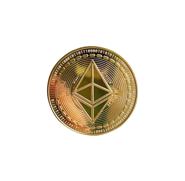 Moneta etherium na białym tle