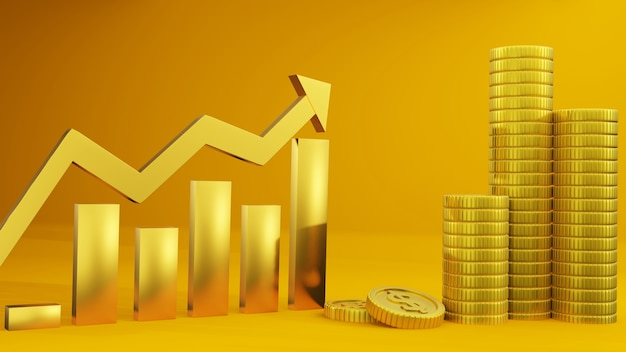 Moneta i czerwony wykres wzrostowy, biznes, finanse i projekt tła inwestycyjnego