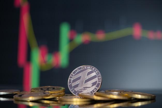 Moneta litecoin symbol grupy kryptowalut ltc i wykres giełdowy świecznik w górę trend wygraj akcje nieostre tło na komputerze biznesowym użyj technologii kryptowaluty blockchain z bliska monety.
