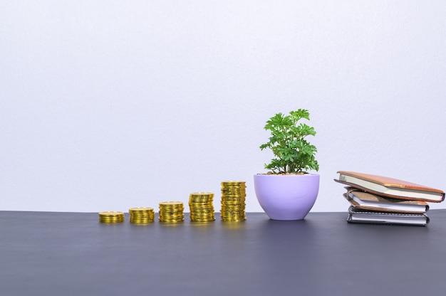 Moneta pokazuje rozwój firmy na biurku