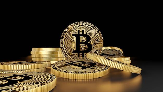 Monety bitcoin cyfrowe pieniądze renderowanie 3d